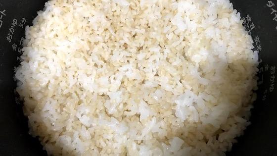 玄米と白米の炊きたて写真